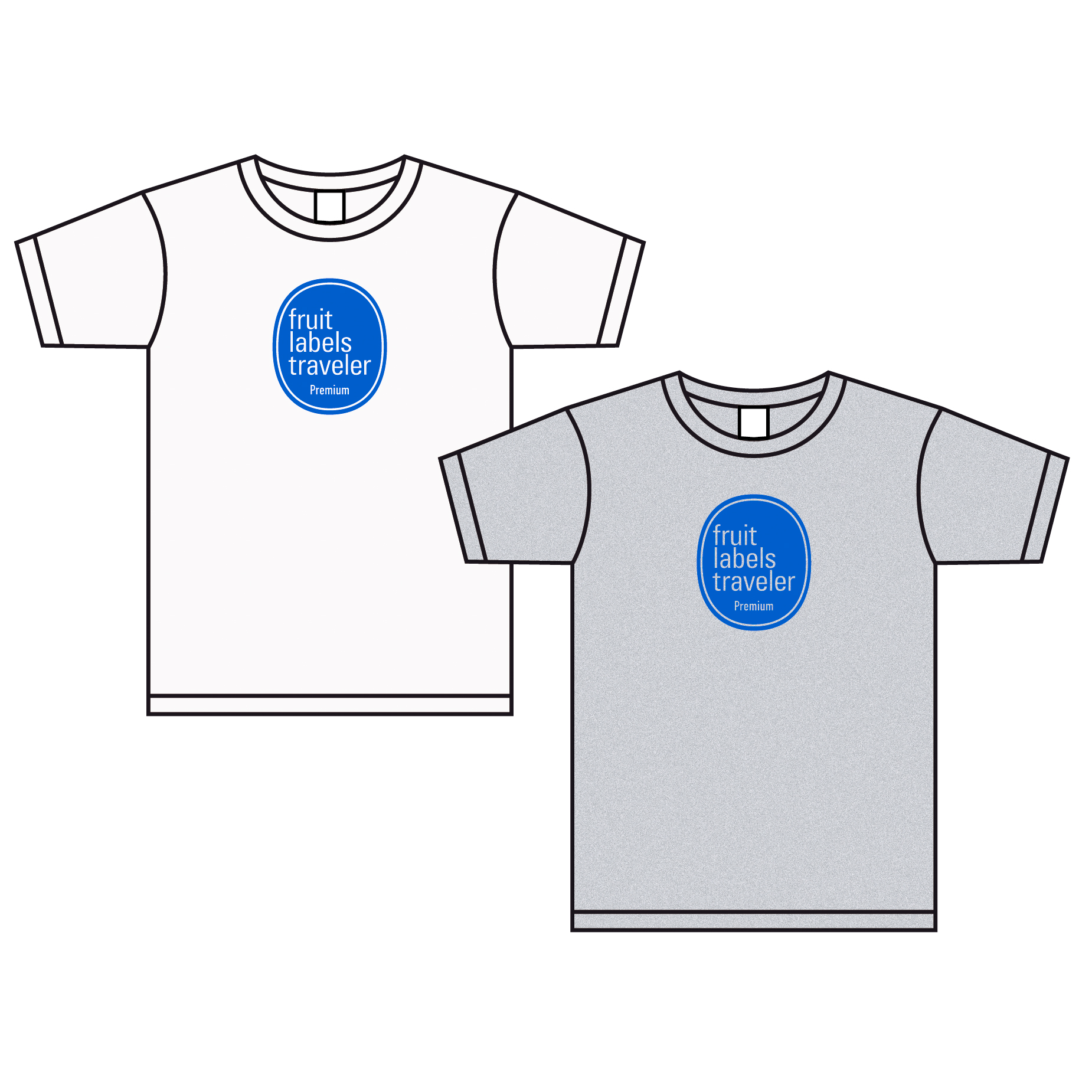 フルーツレーベルトラヴェラー Tシャツ/ホワイト 杢グレー