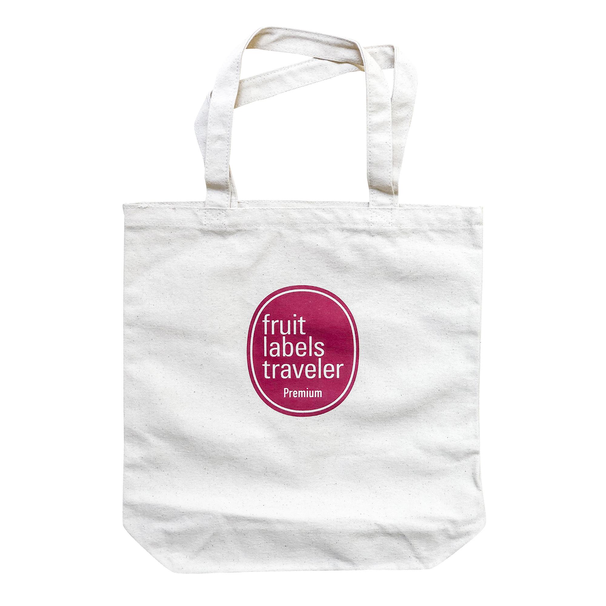 Fruit Labels Traveler 旅するフルーツシール展|キャンバス・トートバッグ 赤版